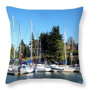 Marina At Cascade Locks Throw Pillow