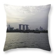 Marina Bay Sands And Flyer Along With Singapore Skyline From The Throw Pillow