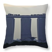 Marina Bay Sands As Seen From The Harbor Cruise Throw Pillow
