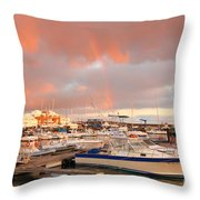 Marina In The Azores Throw Pillow
