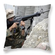 Marine Scans The Area For Enemy Throw Pillow