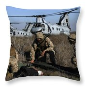 Marines And Sailors Being Transported Throw Pillow