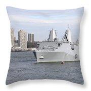 Marines And Sailors Man The Rails Throw Pillow