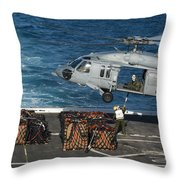 Marines Attach Cargo To An Mh-60s Sea Throw Pillow
