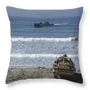 Marines Await The Arrival Of An Throw Pillow