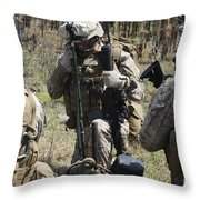 Marines Communicate With Other Elements Throw Pillow