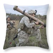 Marines Conduct A Simulated Attack Throw Pillow by Stocktrek Images