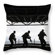 Marines Conduct Rifle Movement Drills Throw Pillow