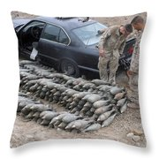 Marines Discover A Weapons Cache Throw Pillow by Stocktrek Images