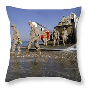 Marines Disembark From A Landing Craft Throw Pillow