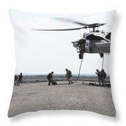 Marines Fast-rope Onto Their Objective Throw Pillow