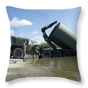 Marines Lower An Improved Ribbon Bridge Throw Pillow
