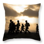 Marines Move To A Firing Line Throw Pillow