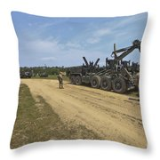 Marines Offload A Logistics Vehicle Throw Pillow