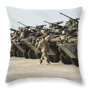 Marines Perform Maintenance On Light Throw Pillow by Stocktrek Images