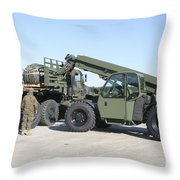 Marines Pick Up Palletized Logistics Throw Pillow