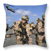 Marines Position Themselves Throw Pillow