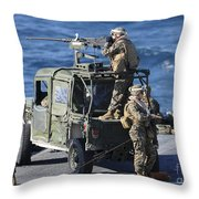 Marines Provide Security Aboard Throw Pillow