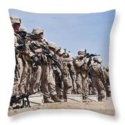Marines Verify The Battle Sight Zeroes Throw Pillow