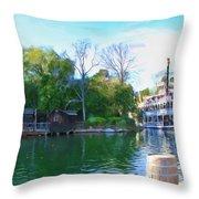 Mark Twain Riverboat At Disneyland Throw Pillow