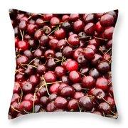 Market Cherries Throw Pillow