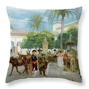 Market Day In Spain Throw Pillow