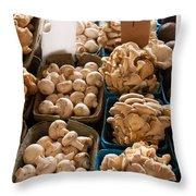 Market Mushrooms Throw Pillow