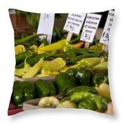 Market Peppers Throw Pillow