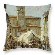 Marketday In Desanzano  Throw Pillow
