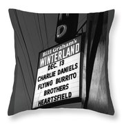 Marquee At Winterland In Late 1975 Throw Pillow