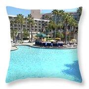 Marriott Hotel Swimming Pool Panorama Orlando Fl Throw Pillow