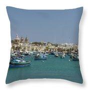 Marsaxlokk Harbour Throw Pillow