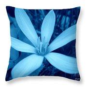 Marsh Grass Flower In Blue Throw Pillow
