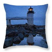Marshall Point Lighthouse In Winter Storm. Throw Pillow