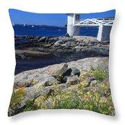 Marshall Point Lighthouse Summer Flowers Throw Pillow