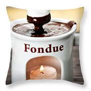 Marshmallow Dipped In Chocolate Fondue Throw Pillow