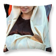 Mary And Baby Jesus At The Christmas March In Bethlehem Throw Pillow
