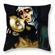 Mary And Jesus Painting At Peace Center Throw Pillow