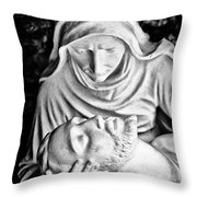 Mary Cradling Jesus Throw Pillow