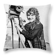 Mary Pickford (1893-1979). Born Gladys Mary Smith. American Actress, With A Movie Camera On A Beach, C1916 Throw Pillow