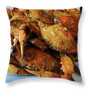 Maryland Steamed Crabs Throw Pillow