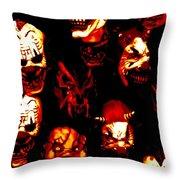 Masks Of Fear Throw Pillow