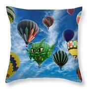 Mass Hot Air Balloon Launch Throw Pillow