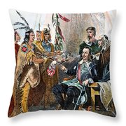 Massasoit & Carver, 1620 Throw Pillow