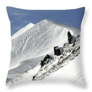 Massif Of Sancy In Winter. Puy De Dome. Auvergne Throw Pillow