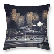 Massive Eight-towered Castle Looms Throw Pillow
