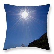 Matterhorn With Sunbeam Throw Pillow