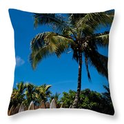 Maui Surfboard Fence - Oldest Section Throw Pillow