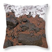 Mauis Red Shoreline Throw Pillow