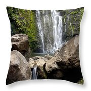 Mauis Wailua Falls And Rocks Throw Pillow
